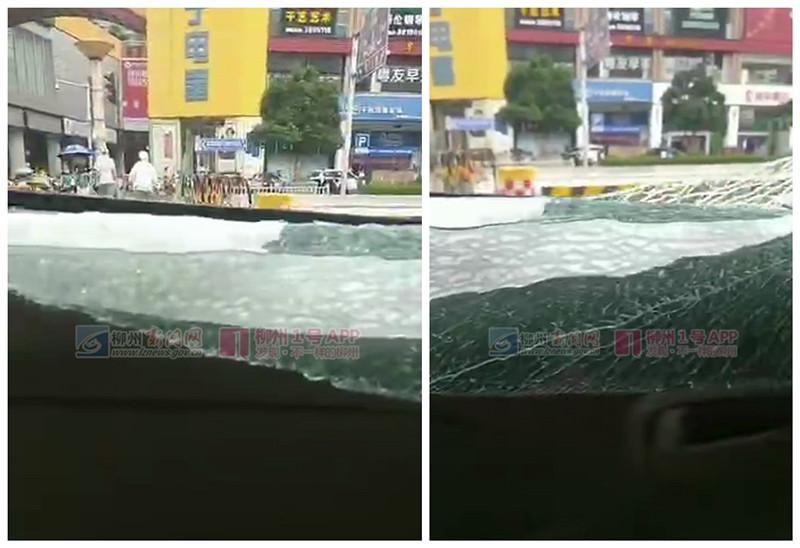 整块车窗都碎了!一辆出租车在鹅山路口疑遭射钉枪击中