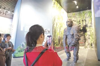 游客在拍摄柳城巨猿复原像.jpg